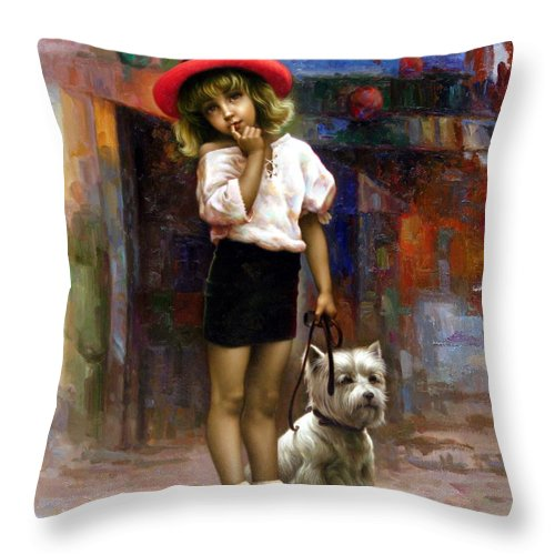 Yoochoongyeul Throw Pillow featuring the painting Color Of Melody - Walk by Yoo Choong Yeul