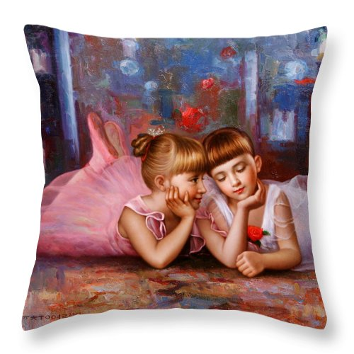 Yoo Choong Yeul Throw Pillow featuring the painting Color Of Melody -two Young Ballerina by Yoo Choong Yeul