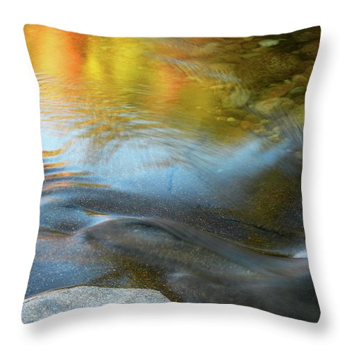 Fall Reflection Throw Pillow featuring the photograph Color On The Swift River Nh by Michael Hubley