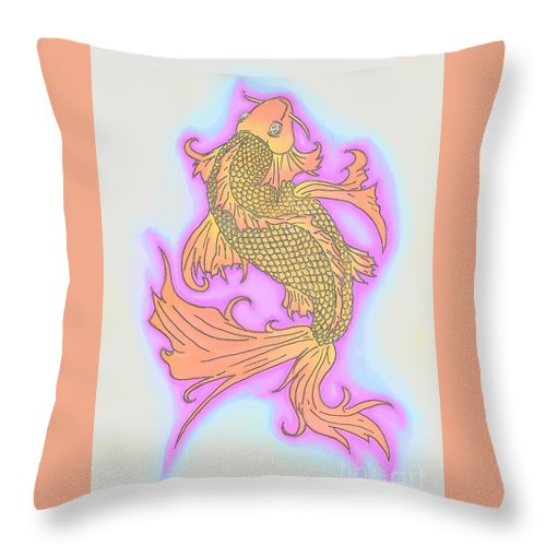 Justin W Moore Throw Pillow featuring the drawing Color Sketch Koi Fish by Justin Moore
