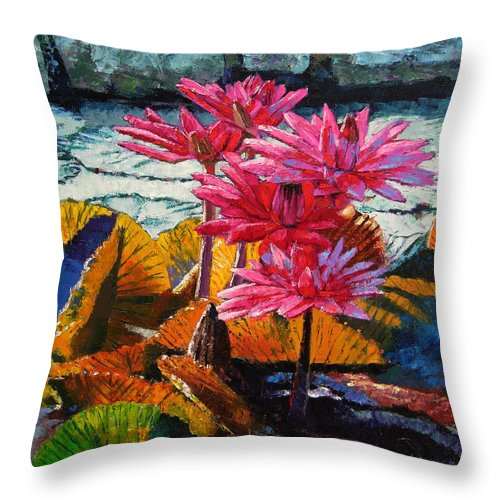 Water Lilies Throw Pillow featuring the painting Color Texture And Light by John Lautermilch