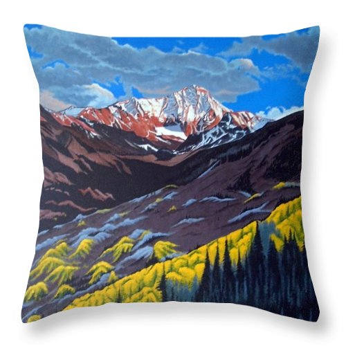 Landscape Throw Pillow featuring the painting Colorado Fall by Rick Gallant