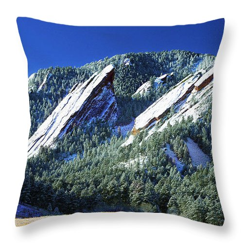 Colorado Throw Pillow featuring the photograph All Five Colorado Flatirons by Marilyn Hunt