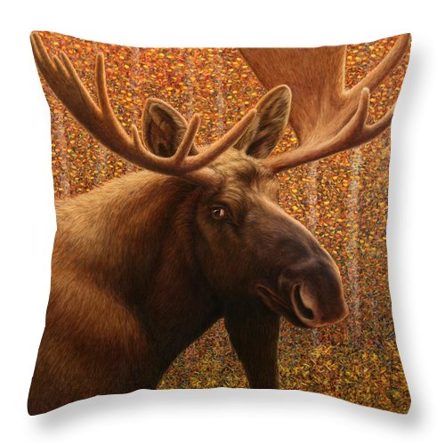 Moose Throw Pillow featuring the painting Colorado Moose by James W Johnson