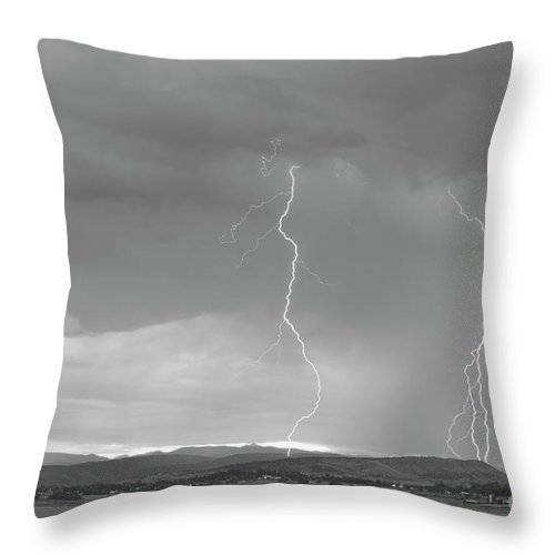 July Throw Pillow featuring the photograph Colorado Rocky Mountains Foothills Lightning Strikes 2 Bw by James BO Insogna