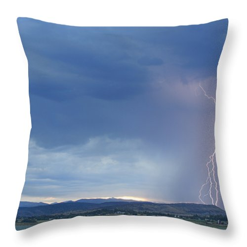 July Throw Pillow featuring the photograph Colorado Rocky Mountains Foothills Lightning Strikes by James BO Insogna