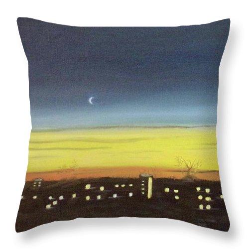 Sky Throw Pillow featuring the painting Colorado Spring Night Skyline by Barbara Smith