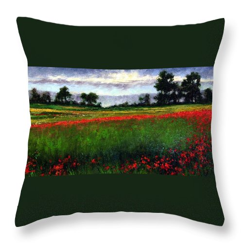 Landscape Throw Pillow featuring the painting Colorburst by Jim Gola