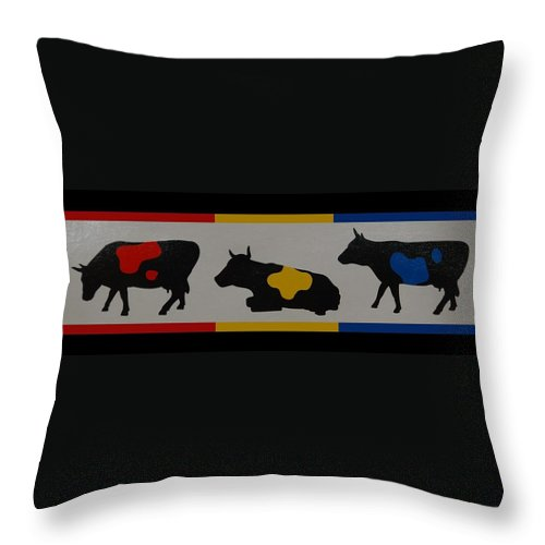 Cows Throw Pillow featuring the photograph Colored Cows by Rob Hans