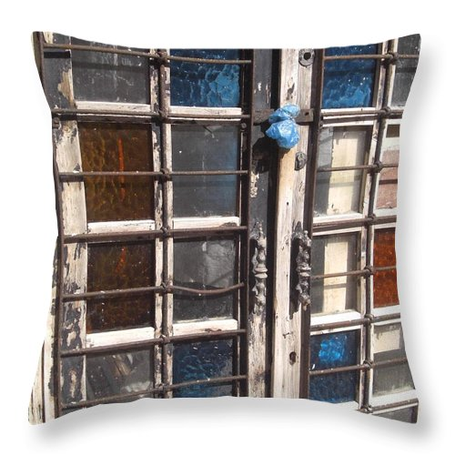 Colored Door Throw Pillow featuring the pyrography Colored Door by Liliane DUMONT-BUIJS