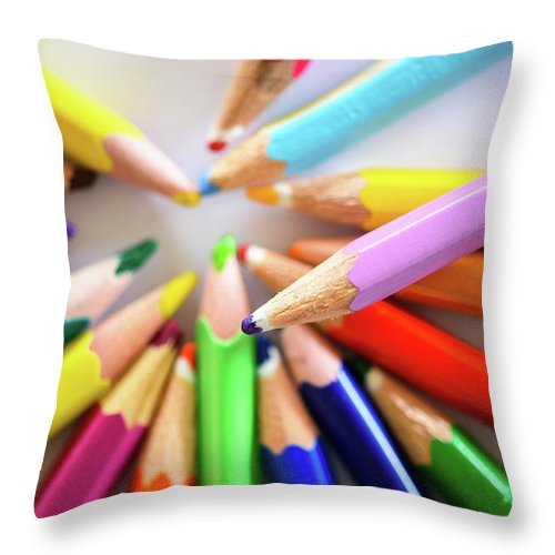 Background Throw Pillow featuring the photograph Colored Pencils by Nicola Simeoni