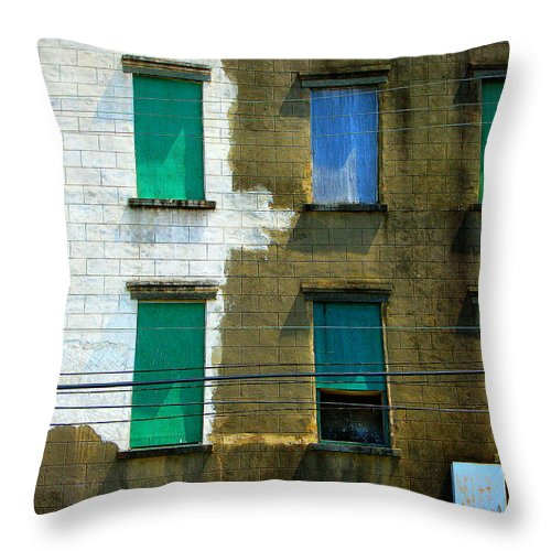 Windows Throw Pillow featuring the photograph Colored Windows by Perry Webster
