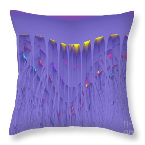 Color Colorful Abstract Water Waterfall Yellow Pink Purple Red Blue Expressionism Painting Fractal Energy Power Dynamic Flow Flowing Throw Pillow featuring the digital art Colorfall by Steve K