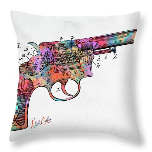 Wesson Throw Pillow featuring the digital art Colorful 1896 Wesson Revolver Patent by Nikki Marie Smith