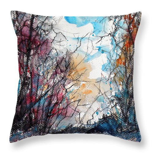 Autumn Throw Pillow featuring the painting Colorful Autumn by Kovacs Anna Brigitta