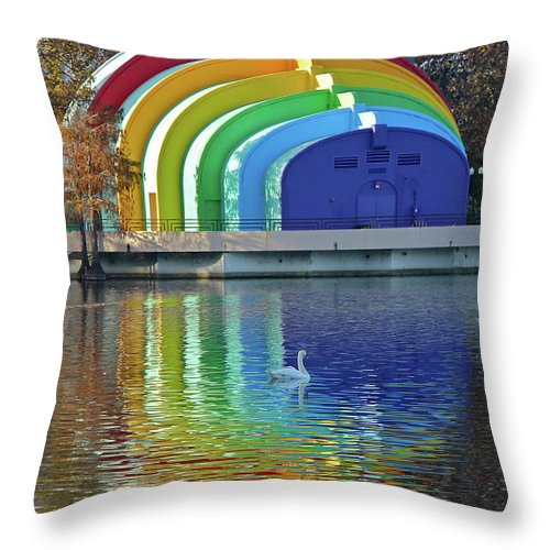 Band Shell Throw Pillow featuring the photograph Colorful Bandshell by Denise Mazzocco