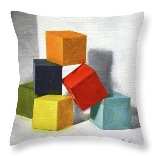 Roena King Throw Pillow featuring the painting Colorful Blocks by Roena King