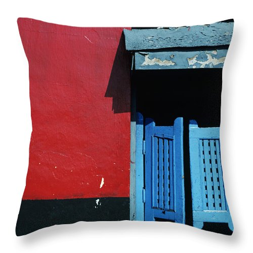 Architecture Throw Pillow featuring the photograph Colorful Caribbean Door by Larry Dale Gordon - Printscapes