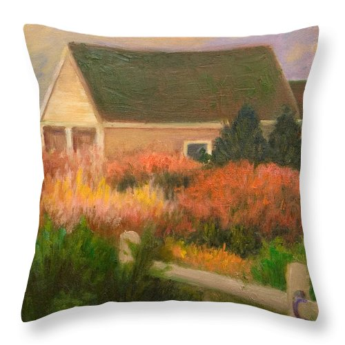 Cape Cod Throw Pillow featuring the painting Colorful Cottage Cape Cod by Phyllis Tarlow