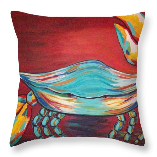 Sealife Throw Pillow featuring the painting Colorful Crab by Angela Miles Varnado