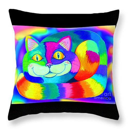 Cat Throw Pillow featuring the digital art Colorful Crazy Cat by Nick Gustafson