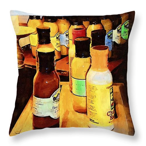 Bottles Throw Pillow featuring the painting Colorful Culinary Collection by RC DeWinter