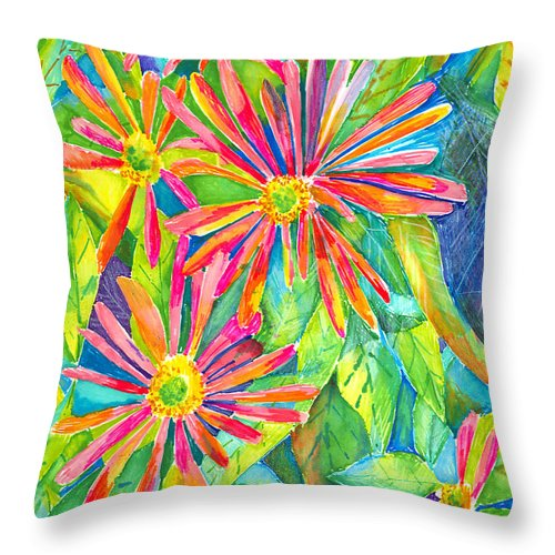 Daisy Throw Pillow featuring the painting Colorful Daisies by Arline Wagner