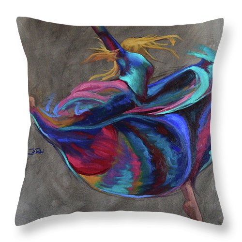 Oil Painting Throw Pillow featuring the painting Colorful Dancer by Jan Christiansen