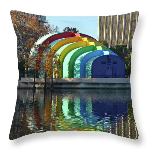 Band Shell Throw Pillow featuring the photograph Colorful Downtown Orlando by Denise Mazzocco