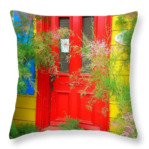 Color Throw Pillow featuring the photograph Colorful Entrance ... by Juergen Weiss