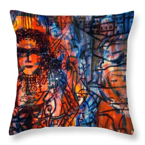Expressionism Throw Pillow featuring the painting Colorful Expression-5 by Natalie Holland