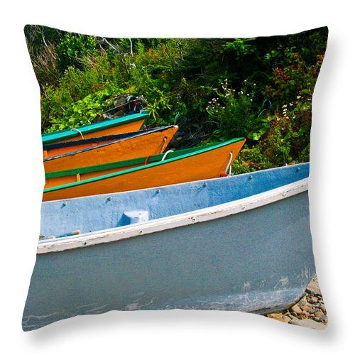 Fishing Throw Pillow featuring the photograph Colorful Fishing Boats On A Rocky Shore Grand Manan by Thomas Marchessault