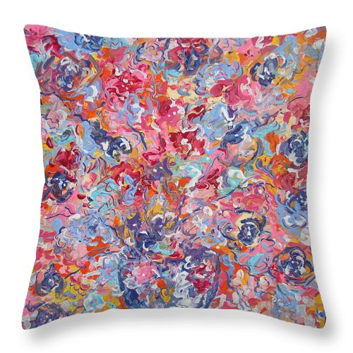 Flowers Throw Pillow featuring the painting Colorful Floral Bouquet. by Leonard Holland