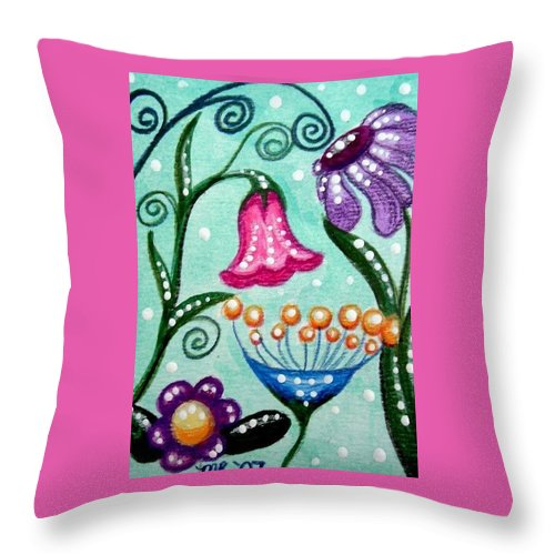 Floral Throw Pillow featuring the painting Colorful Flowers by Monica Resinger