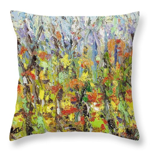 Autumn Abstract Paintings Throw Pillow featuring the painting Colorful Forest by Seon-Jeong Kim