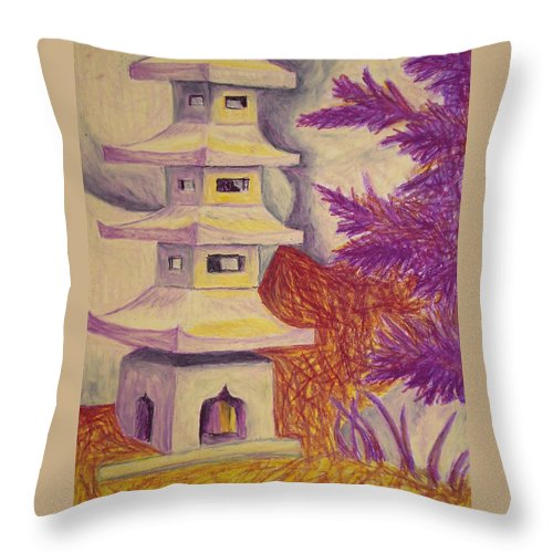 Tree Throw Pillow featuring the pastel Colorful Garden by Jean Haynes