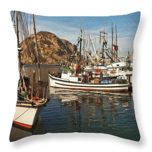 Morro Bay Throw Pillow featuring the digital art Colorful Harbor by Sharon Foster