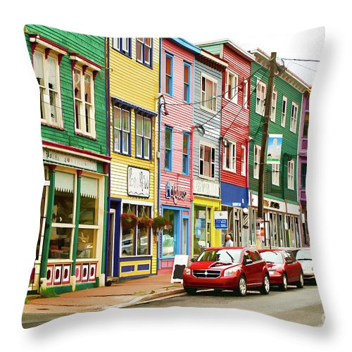 House Throw Pillow featuring the digital art Colorful Houses In St Johns In Newfoundland by Les Palenik