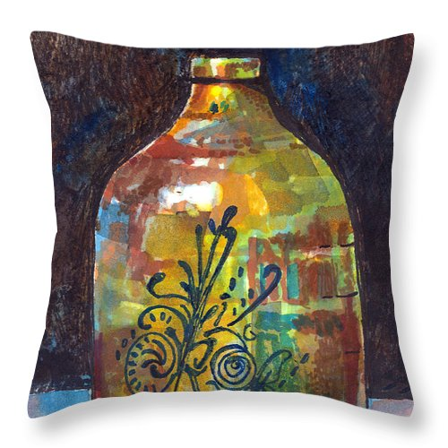 Jug Throw Pillow featuring the painting Colorful Jug by Arline Wagner