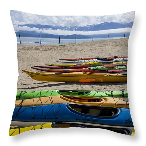 Kayaks Throw Pillow featuring the photograph Colorful Kayaks by Idaho Scenic Images Linda Lantzy