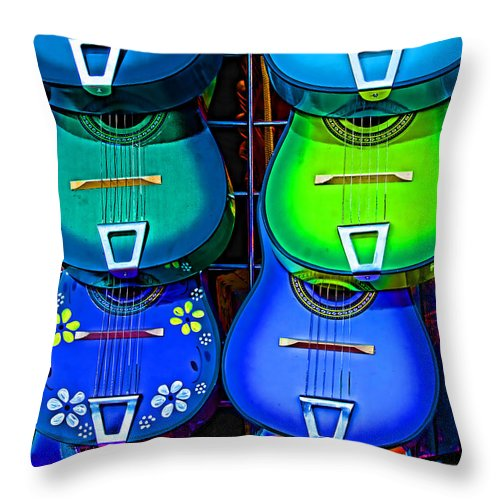 Guitars Throw Pillow featuring the photograph Colorful Mexican Guitars by Helaine Cummins