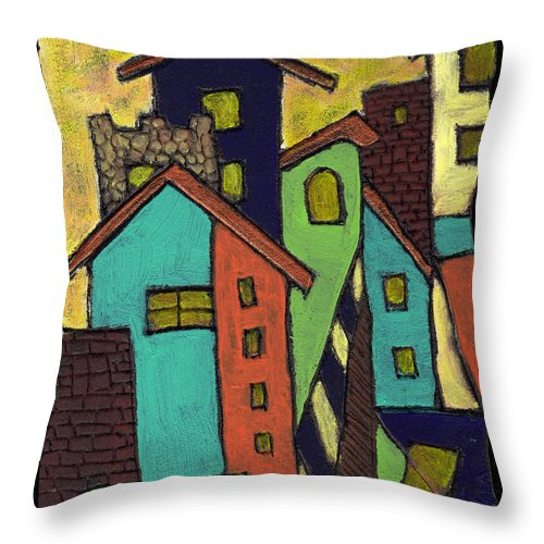 City Throw Pillow featuring the painting Colorful Neighborhood by Wayne Potrafka