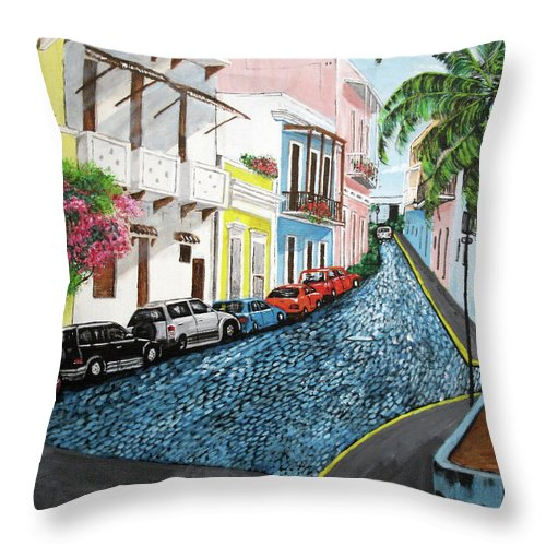 Old San Juan Throw Pillow featuring the painting Colorful Old San Juan by Luis F Rodriguez