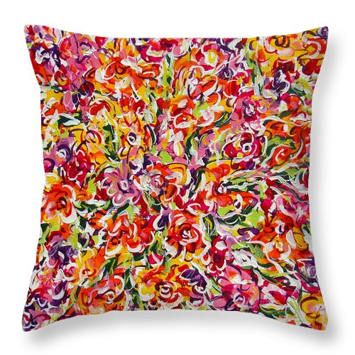 Framed Prints Throw Pillow featuring the painting Colorful Organza by Natalie Holland