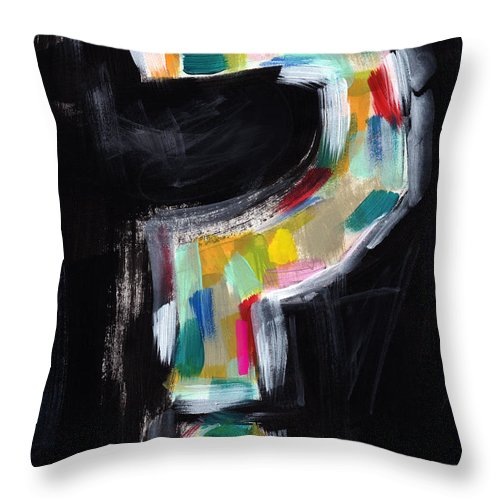 Question Mark Throw Pillow featuring the painting Colorful Questions- Abstract Painting by Linda Woods