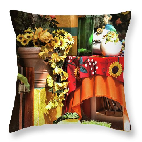 Mexico Throw Pillow featuring the photograph Colorful Restaurant Bucerias by Chuck Kuhn