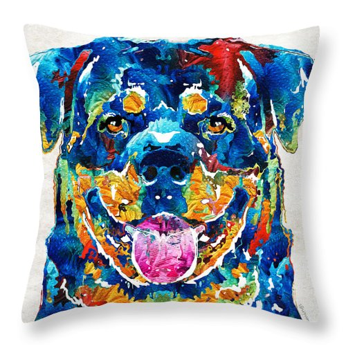 Rottweiler Throw Pillow featuring the painting Colorful Rottie Art - Rottweiler By Sharon Cummings by Sharon Cummings
