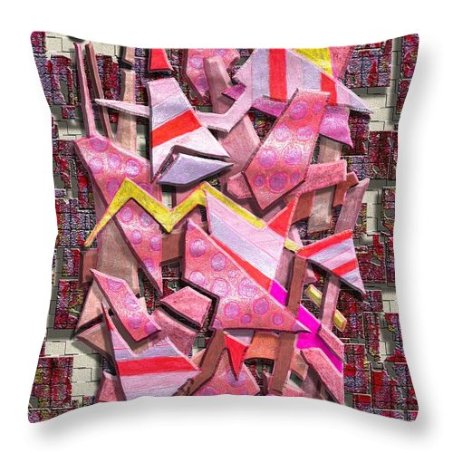 Abstract Throw Pillow featuring the digital art Colorful Scrap Metal by Mark Sellers