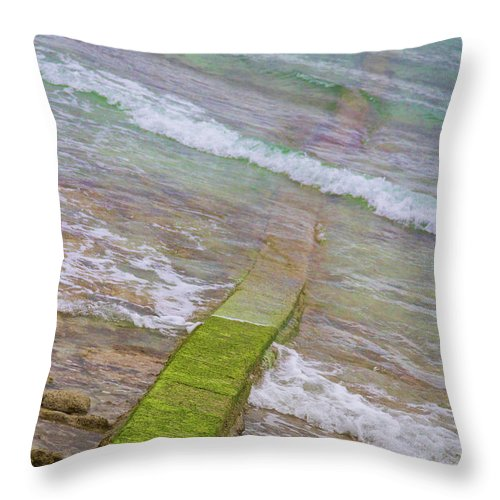 Seawall Throw Pillow featuring the photograph Colorful Seawall by James BO Insogna