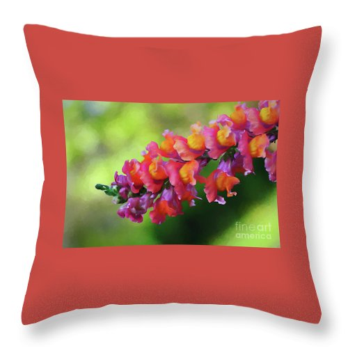 Colorful Snapdragon Throw Pillow featuring the photograph Colorful Snapdragon by Kaye Menner